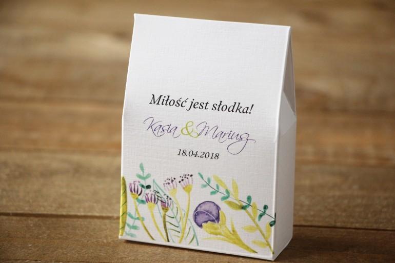 Pudełeczko stojące z cukierkami - Malowane Kwiaty nr 22 - Fiolet i zieleń - Podziękowania dla Gości weselnych