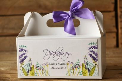 Prostokątne pudełko na ciasto, tort weselny, ślub - Malowane Kwiaty nr 22 - Fiolet i zieleń - dodatki ślubne