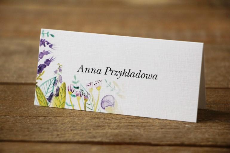 Winietki na stół weselny - Malowane Kwiaty nr 22 - Fiolet i zieleń - dodatki ślubne