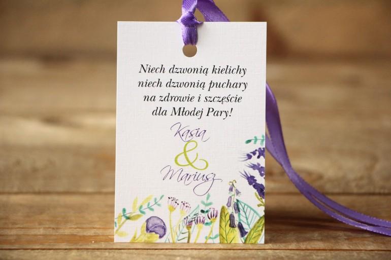 Zawieszka na butelkę - Malowane Kwiaty nr 22 - Fiolet i zieleń - dodatki ślubne, akcesoria weselne