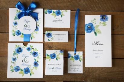 Zaproszenia ślubne z dodatkami - Malowane Kwiaty nr 23 - Chabrowe - papeteria ślubna