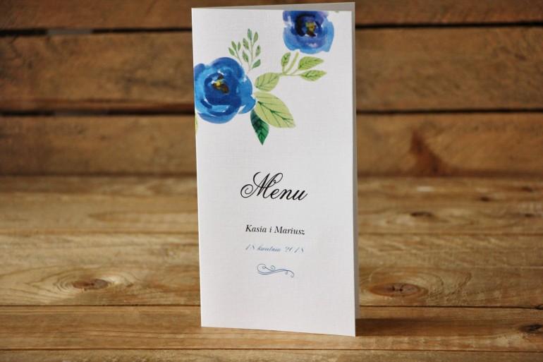 Menu weselne - Malowane Kwiaty nr 23 - Chabrowe - dodatki na stół weselny, akcesoria ślubne