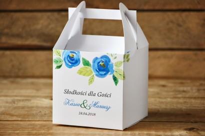 Pudełko na ciasto, kwadratowe - Malowane Kwiaty nr 23 - Chabrowe - dodatki ślubne, tort weselny