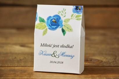 Pudełeczko stojące z cukierkami - Malowane Kwiaty nr 23 - Chabrowe - Podziękowania dla Gości weselnych