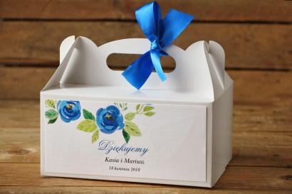 Prostokątne pudełko na ciasto, tort weselny, ślub - Malowane Kwiaty nr 23 - Chabrowe - dodatki ślubne