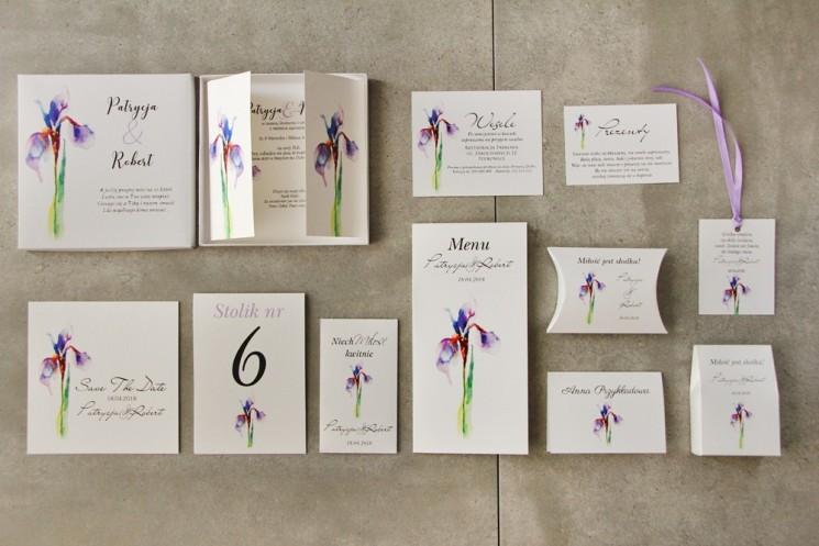 Efektowne zaproszenie ślubne w pudełku z dodatkami - Pistacjowe 10 - Elegancki fioletowy irys
