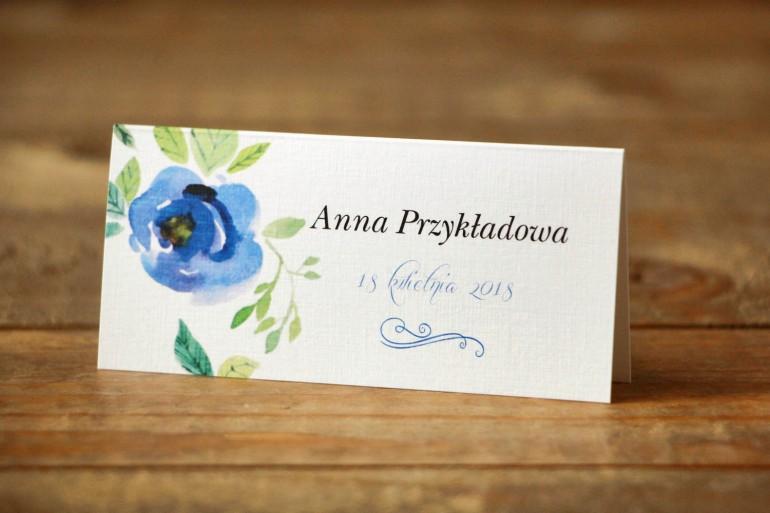 Winietki na stół weselny - Malowane Kwiaty nr 23 - Chabrowe - dodatki ślubne