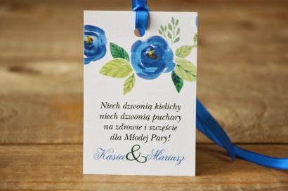 Zawieszka na butelkę - Malowane Kwiaty nr 23 - Chabrowe - dodatki ślubne, akcesoria weselne