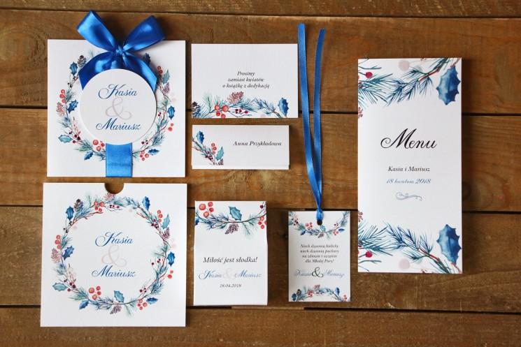 Zaproszenia ślubne z dodatkami - Malowane Kwiaty nr 24 - Zimowe - papeteria ślubna
