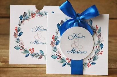 Zaproszenia ślubne w etui - Malowane Kwiaty nr 24 - Zimowe - z kokardą