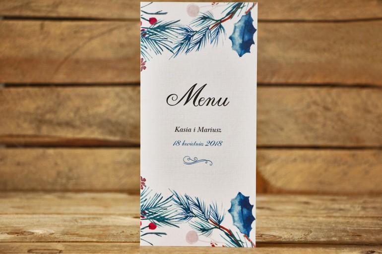 Menu weselne - Malowane Kwiaty nr 24 - Zimowe - dodatki na stół weselny, akcesoria ślubne