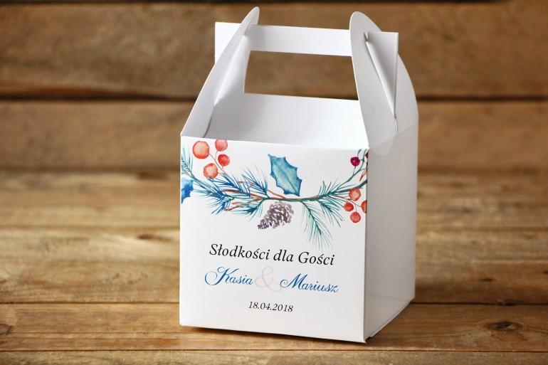 Pudełko na ciasto, kwadratowe - Malowane Kwiaty nr 24 - Zimowe - dodatki ślubne, tort weselny