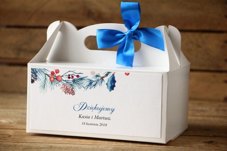 Prostokątne pudełko na ciasto, tort weselny, ślub - Malowane Kwiaty nr 24 - Zimowe - dodatki ślubne