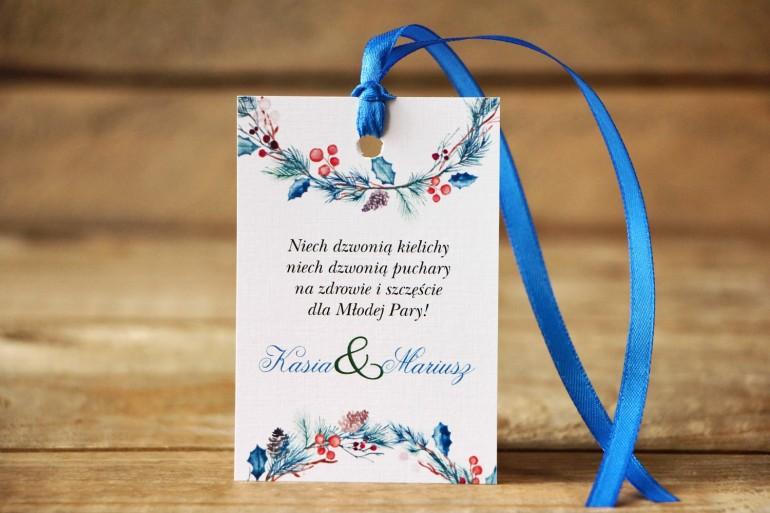 Zawieszka na butelkę - Malowane Kwiaty nr 24 - Zimowe - dodatki ślubne, akcesoria weselne