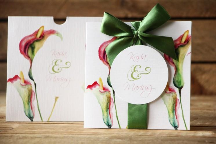 Zaproszenia ślubne w etui - Subtelne kalie w odcieniach różu i zieleni