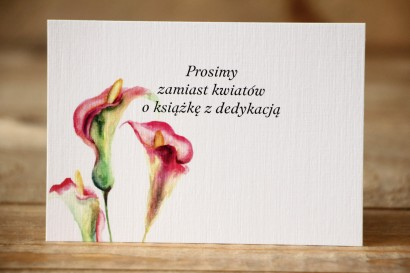 Bilecik do zaproszenia Malowane Kwiaty nr 25 - Kalie - wierszyki o prezentach