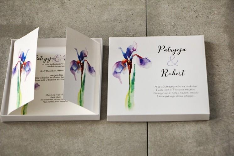 Efektowne Zaproszenie ślubne w pudełku - Pistacjowe nr 10 - Elegancki fioletowy irys