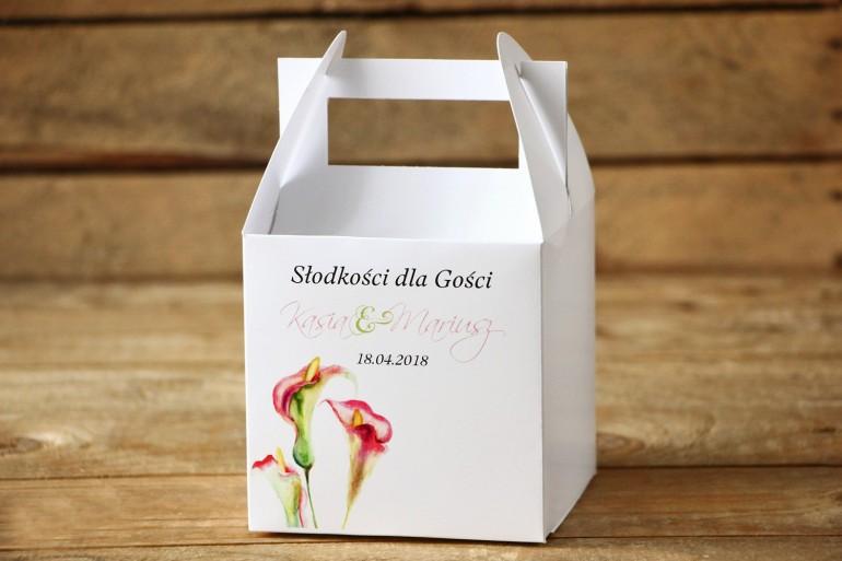 Pudełko na Ciasto Weselne - Subtelne kalie w odcieniach różu i zieleni