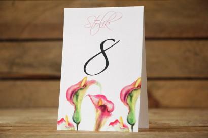 Numery stolików ślubnych - Subtelne kalie w odcieniach różu i zieleni