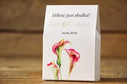 Pudełeczko na słodkości, podziękowania, upominki dla gości weselnych. Subtelne kalie w odcieniach różu i zieleni