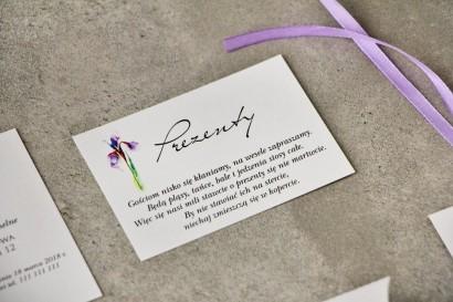 Bilecik do zaproszenia 105 x 74 mm prezenty ślubne wesele - Pistacjowe nr 10 - Fioletowy Irys