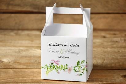 Pudełko na Ciasto weselne kwadratowe - Delikatne, pastelowe kwiaty drobnych bratków