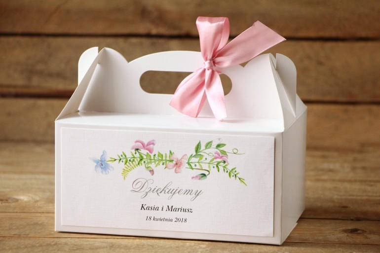 Pudełko na Ciasto weselne - Delikatne, pastelowe kwiaty drobnych bratków