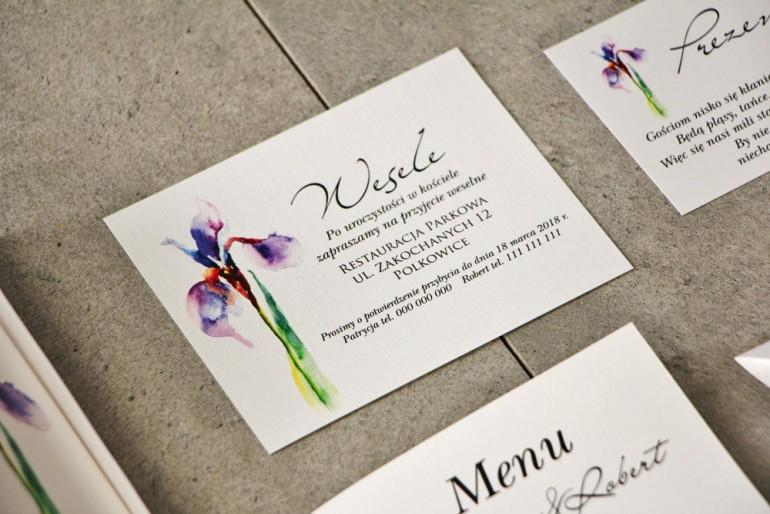 Bilecik do zaproszenia 120 x 98 mm prezenty ślubne wesele - Pistacjowe nr 10 - Fioletowy Irys