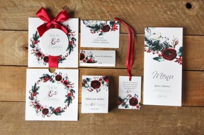 Zaproszenia ślubne w etui - Elegancka, zimowa kompozycja z kwiatami róży - zestaw próbny