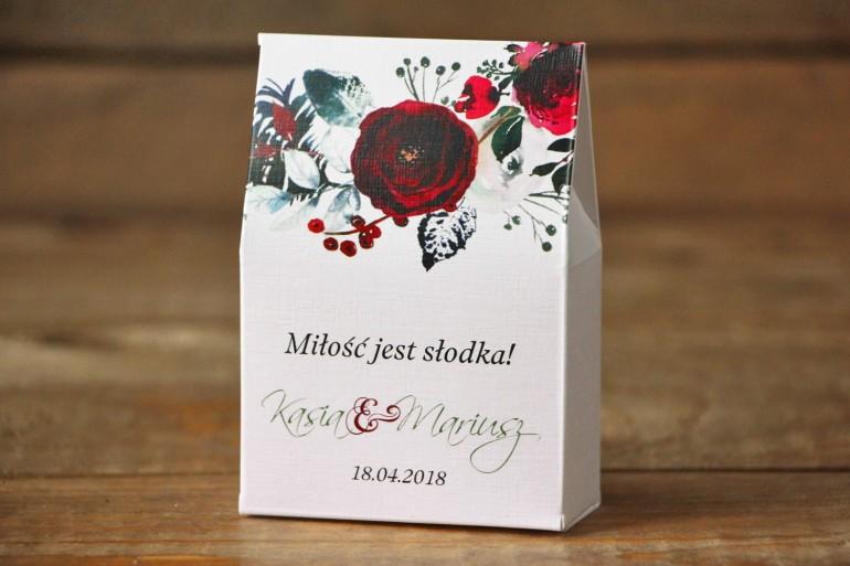 Pudełeczko na słodkości, podziękowania dla gości weselnych - Elegancka, zimowa kompozycja z kwiatami róży