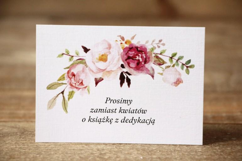 Bilecik do zaproszenia Malowane Kwiaty nr 28 - Pudrowe kwiaty - wierszyki o prezentach