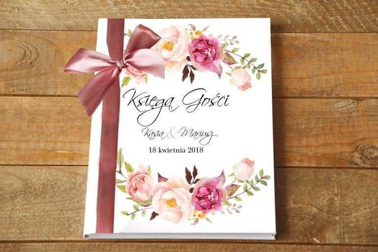 Ślubna Księga gości - Delikatna pastelowa kompozycja kwiatów piwonii w otoczeniu jasnozielonych gałązek