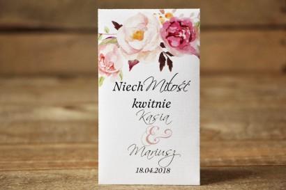 Nasiona - podziękowania dla gości weselnych. Delikatna pastelowa kompozycja kwiatów piwonii