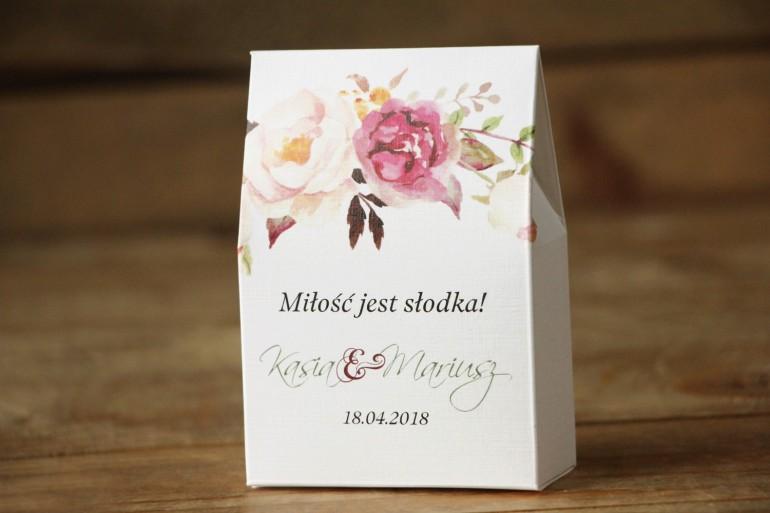 Pudełeczko na słodkości dla gości. Podziękowania, upominki dla gości weselnych