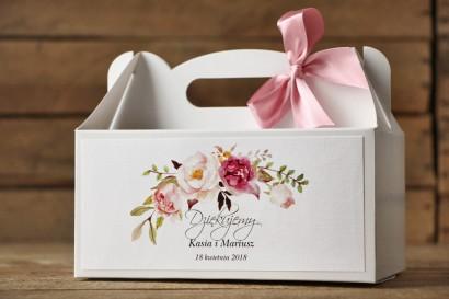 Pudełko na Ciasto weselne prostokątne. Delikatna pastelowa kompozycja kwiatów piwonii