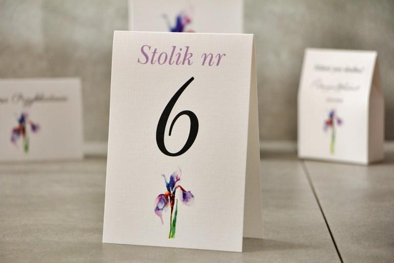 Numery stolików, stół weselny, Ślub - Pistacjowe nr 10 - Fioletowy irys
