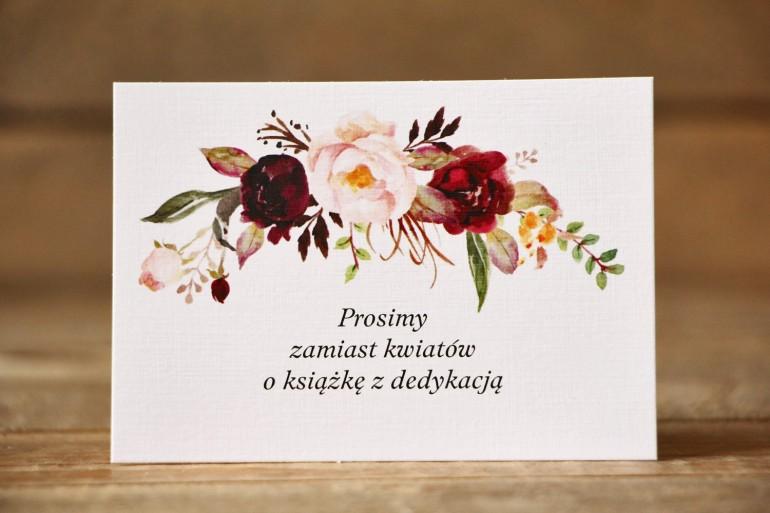 Bilecik do zaproszenia ślubnego - Malowane Kwiaty nr 29 - Piwonie bordowe - wierszyki o prezentach