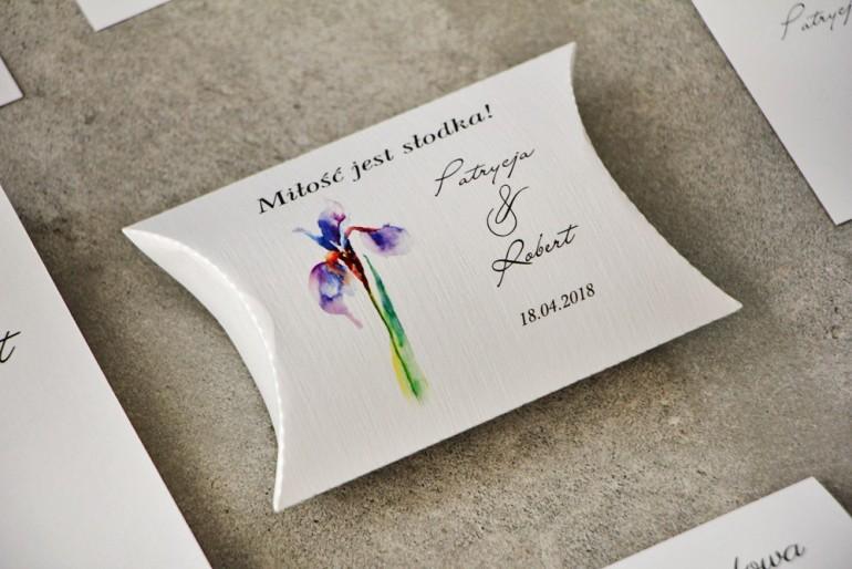 Pudełeczko poduszeczka na cukierki, podziękowania dla Gości weselnych - Pistacjowe nr 10 - Fioletowy Irys