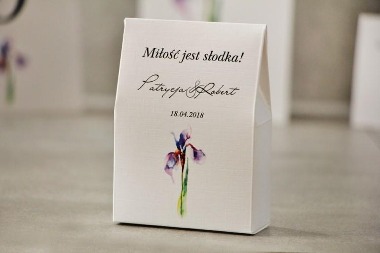 Pudełeczko stojące na cukierki, podziękowania dla Gości weselnych - Pistacjowe nr 10 - Fioletowy irys