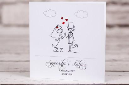 Zaproszenia ślubne Bueno nr 2 - okładka - Para Młoda w zabawnej wersji rysunkowej z delikatnym akcentem serduszek