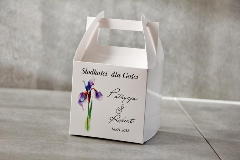 Pudełko na ciasto kwadratowe, tort weselny - Pistacjowe nr 10 - Fioletowy irys