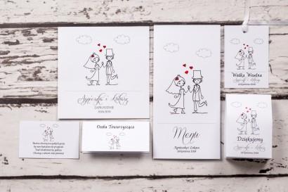 Zestaw próbkowy zaproszeń ślubnych Bueno nr 2 - Para Młoda w zabawnej wersji rysunkowej z delikatnym akcentem serduszek