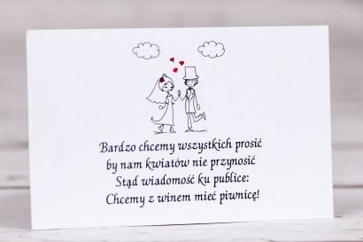 Bilecik do zaproszenia ślubnego Bueno nr 2 - Para Młoda w zabawnej wersji rysunkowej z delikatnym akcentem serduszek