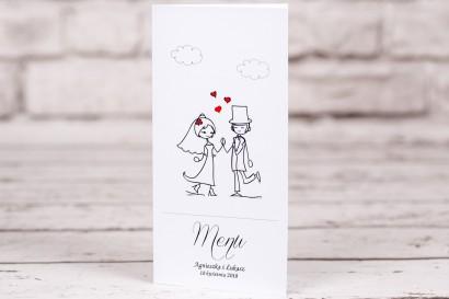 Menu ślubne, weselne Bueno nr 2 - Para Młoda w zabawnej wersji rysunkowej z delikatnym akcentem serduszek