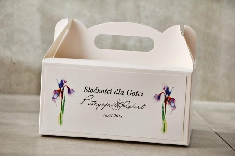 Prostokątne pudełko na ciasto, tort weselny, Ślub - Pistacjowe nr 10 - Fioletowe irysy