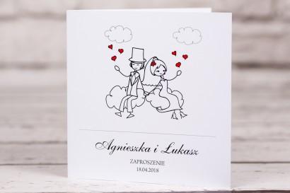 Zaproszenia ślubne Bueno nr 3 - Rysunek zakochanej Pary Młodej dryfującej w chmurach - okładka