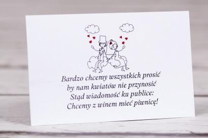 Bilecik do zaproszenia ślubnego Bueno nr 3 - Rysunek zakochanej Pary Młodej dryfującej w chmurach