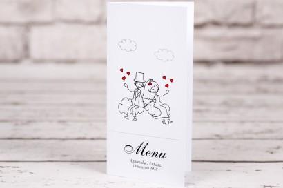 Menu ślubne Bueno nr 3 - Rysunek zakochanej Pary Młodej dryfującej w chmurach