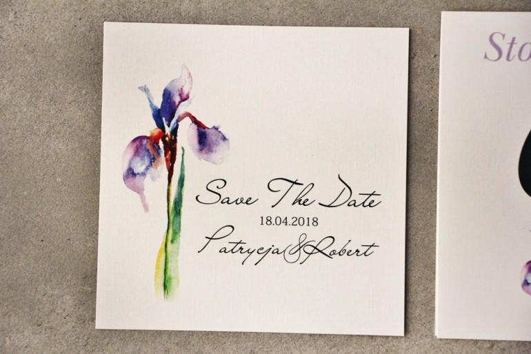 Bilecik Save The Date do zaproszenia - Pistacjowe nr 10 - Fioletowy irys