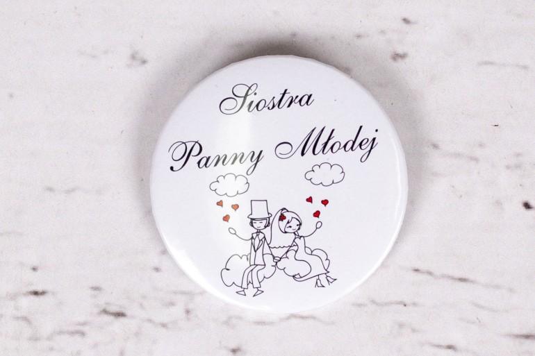 Przypinka ślubna Bueno nr 3 - Rysunek zakochanej Pary Młodej dryfującej w chmurach